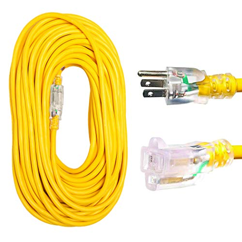 Thonapa 100 Foot Outdoor Extension Cord - 12/3 Heavy Duty Yellow Extension Cable with 3 Prong Grounded Plug for Safety - Great for Garden and Major Appliances
