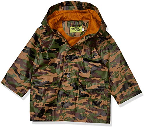 Western Chief Kids Soft Lined Character Rain Jackets, Camo, 5