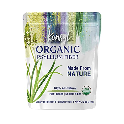 Konsyl Organic Psyllium Fiber - USDA Certified Psyllium Husk Daily Fiber Supplement Powder - All Natural Soluble Fiber, Gluten-Free & Sugar-Free - Perfect for Keto & Baking - 1 Pack - 340g Gusset Bag