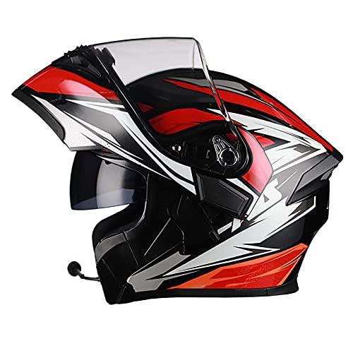 XYXZ Cascos Integrales De Motocicleta Casco Abatible para Motocicleta Cascos De Motocicleta Integrados con Bluetooth, Cascos Modulares De Doble Visor De Cara Completa, Respuesta Automática D