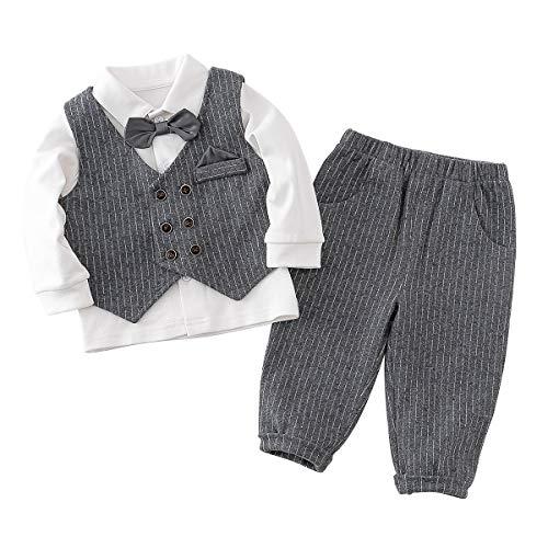 Famuka Baby Anzüge Baby Junge Sakkos Taufe Hochzeit Babybekleidung Set (Grau, 80)