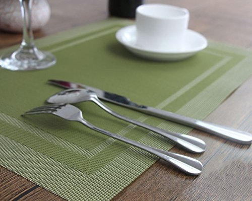 YO FUN Set of 6 PVC Placemats Washable Non-Slip Rectangle 45x30CM Table Mats Heat-Insulation Placemat Decoration for Home, Kitchen, Restaurant, Hotel, Olive Green