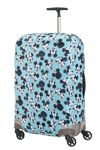 51I4iVHKsPL - Samsonite Global Travel Accessories Disney - Funda para Maleta en Lycra , M, Azul (Mickey/Minnie Blue)