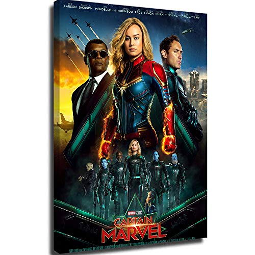 Poster Painting on Canvas Wall Decor Bedroom for Girl Poster Captain Marvel US Movie Posters for Theater Room 24x36 Framed 8x12inch