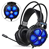 EasySMX PC Gaming Headsets ps4, Gaming Headset for Xbox One S, X, PS4, PC with Adjustable Mic, Comfortable Mute & LED Lights, Xbox Gaming Headset for Laptop