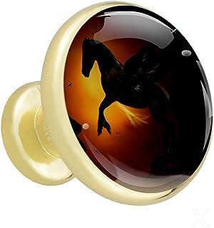 Alas de caballo de Pegaso El armario maneja las perillas de los gabinetes de metal dorado con cristal para la puerta del c...