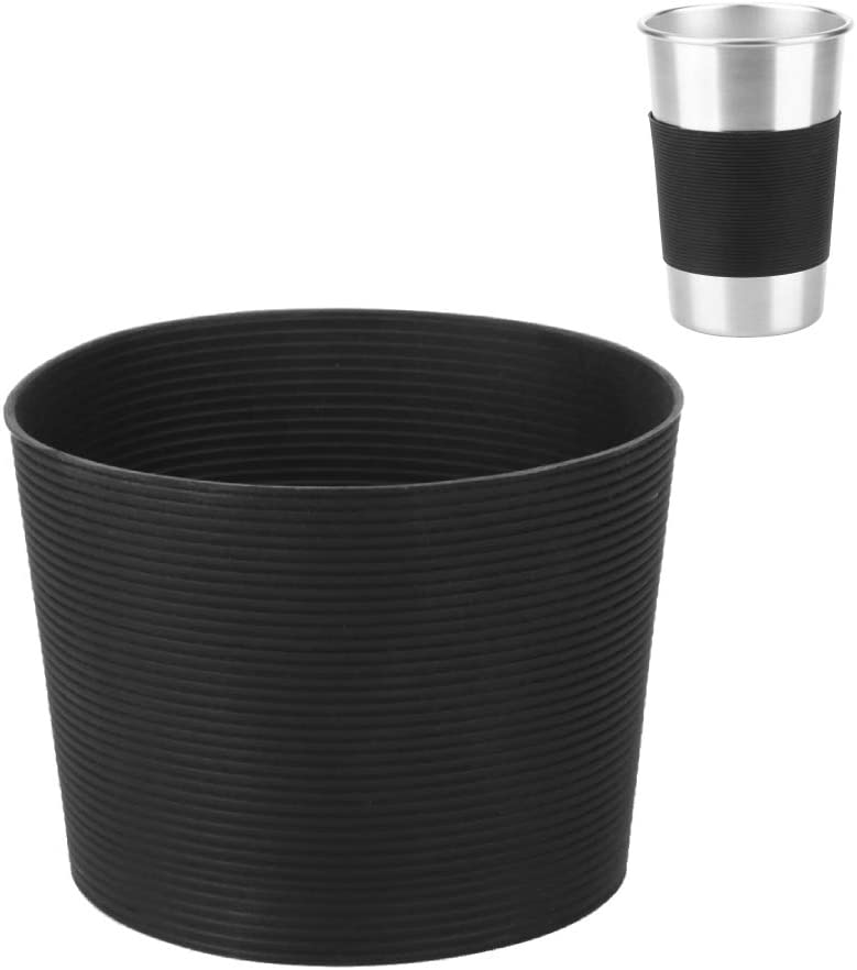 Cafopgrill Funda de Copa de Botella, 10 Piezas Protector de Cubierta de Taza de Agua Antideslizante Resistente al Calor de Silicona Funda de Copa Negra