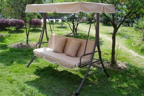 Hollywoodschaukel Gartenschaukel Moderne Gartenliege Outdoor Schaukelbank mit Liegefunktion 190x135x170cm JL10B - 2