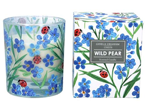 Gisela Graham Forget-Me-Not Wild Pear Fragrance Large Glass Candle in Presentation Box Spring Easter Mothers Day