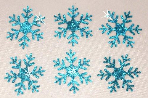 Glitzer-Schneeflocken zum Aufbügeln, 5,1 cm groß, 2 Packungen, 12Stück blau