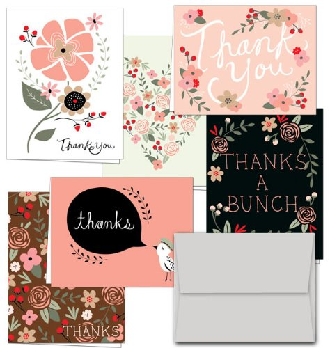 Note Card Cafe Thank You Cards with Gray Envelopes   36 Pack   Thank You Potpourri   Blank Inside, Glossy Finish   for Greeting Cards, Occasions, Birthdays, Gifts