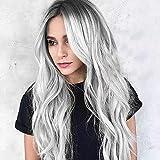 ChuYao Pelucas de degradado negro/plateado para mujeres aspecto y tacto como el pelo real natural negro a gris plateado importado fibra sintética resistente al calor que