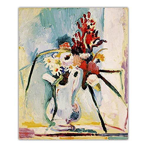 VCFHU Henri Matisse Tela Olio Quadri Fiori in A Brocca Parete Arte Famoso Poster Stampe Estetica Sfondo Soggiorno Stanza Decorazioni Quadri 50 X 70 Cm No Cornice
