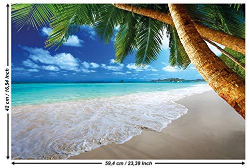 Great Art strand palmen – muurschildering decoratie Caribisch droomstrand Bucht Paradies Natuur Eiland Palmen Tropen blauwe hemel zomer foto wandbehang fotoposter wanddecoratie behang 59,4 x 42 cm - 1 Teil