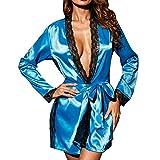 OverDose Damen Frauen Damen Cosplay Silk Kimono Dressing Babydoll Home Party Dessous Bademantel...