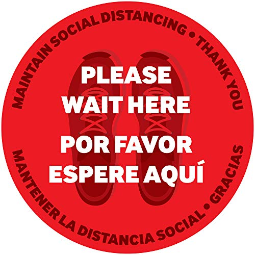 Bilingual Social Distance Floor Decal (5 Pack) | 6ft Social Distancing Reminder Floor Sticker – Spanish & English | Safety Floor Sign Marker | 12' Vinyl Anti-Slip Floor Graphic | (Red)