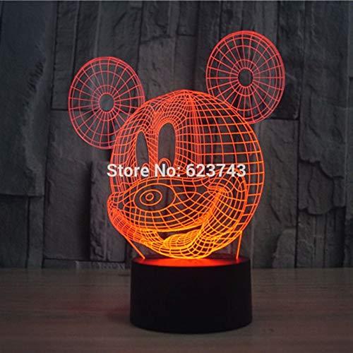 Wfmhra 7 Colores Que cambian Intermitente ratón acrílico 3D LED luz Nocturna USB 3D Navidad LED lámpara de Mesa Decorativa lámpara de Humor para bebés