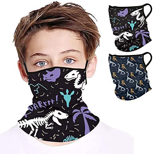 YIZEKE 2PCS Kids Neck Gaiters Banada with Ear Hoops Children Face Cover Scarf Masks Balaclava Dust Wind Sport