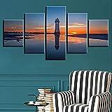 5 piezas de lienzo Cuadro compuesto por 5 lienzos impresos en HD, utilizados para decoración del hogar y carteles Torre de vigilancia vista mar con marco 100x55cm
