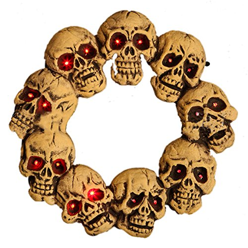 Light Up Halloween Skulls Wreath