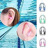 BHGWR 4 Stück Nasenklammern und Ohrenstöpselsets für Schwimmer, Weiche Silikon Nasenklammer und Ohrstöpsel für Schwimmen Erwachsene Kinder (Schwarz/Pink/Grün/Blau) - 6
