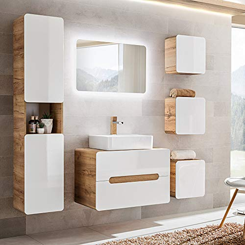 Lomadox Badezimmermöbel Set in Hochglanz weiß mit Wotaneiche, Keramik-Waschtisch mit Unterschrank, LED-Spiegel