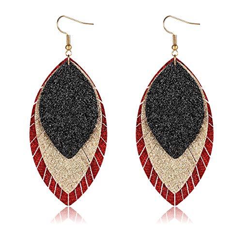 PHALIN Leather Earrings for Women Triple Layer Glitter Feather Leaf Earrings Lightweight Faux Leather Drop Dangle Earring for Girls Black
