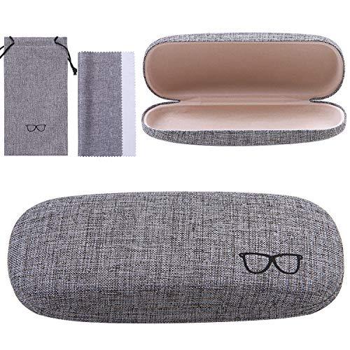 URATOT Retro Hard Shell Eyeglasses Case Portable Linen Glasses Case with...