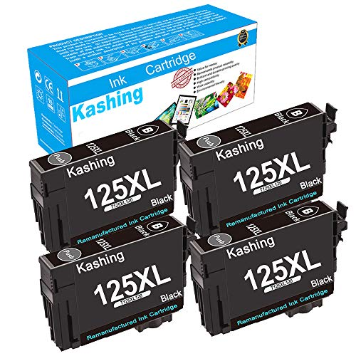 Kashing Remanufactured Ink Cartridge Replacement for Epson 125 T125 Used in Stylus NX125 NX127 NX230 NX420 NX530 NX625 Workforce 320 323 325 520 Printer 4 Pack of Black