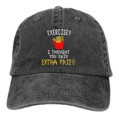 KioHp Oefening Ik dacht dat je zei Extra Fries Classic Plain Unisex Vintage Verstelbare Hoed Fit Outdoor Activiteiten Sport Comfort Katoen Zes Panel Cap Zwart