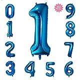 40 Inch Blue Jumbo Digital Number Balloons 1 Huge Giant Balloons Foil Mylar Balloons for Birthday Party,Wedding, Bridal Shower Engagement Photo Shoot