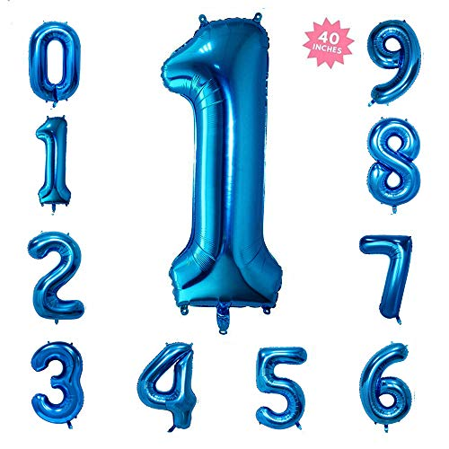40 Inch Blue Jumbo Digital Number Balloons 1 Huge Giant Balloons Foil Mylar Balloons for Birthday Party,Wedding, Bridal Shower Engagement Photo Shoot, Anniversary