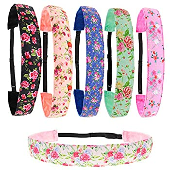 FROG SAC 6 Floral Ribbon Boho Headbands for Women Adjustable Non Slip Thin Floral Headband for Girls Boho Head Bands for Kids Fashion Hairbands For Teens Cute Girl Floral Hair Accessories