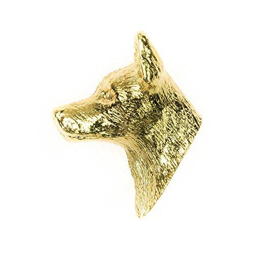 DOG ARTS JP Cane da Pastore Australiano Kelpie Made in UK, Collezione Distintivo Spilla Artistici Stile Cani (con la placcatura d'oro 22 carati)