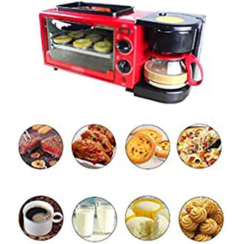 Macchina per il pane 3 in 1 Macchine Macchina per il pane, multifunzione colazione della macchina del pane, Fornaio con tempi precisi della macchina del pane senza glutine del grano intero Pane,Rosso