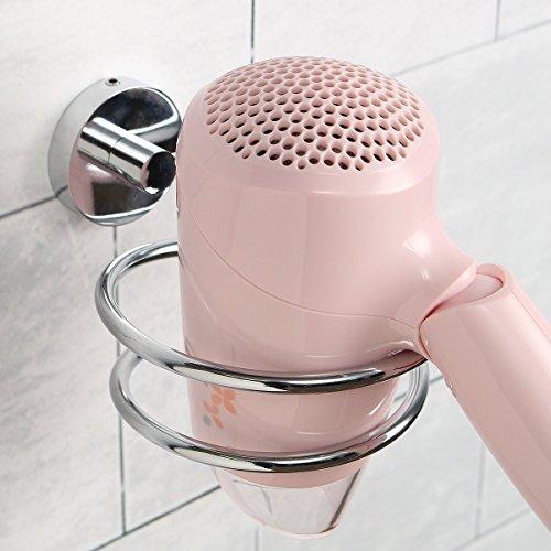 SWETON Soporte de secador Pelo de Acero Inoxidable,Ideal para el baño, Incluye un Gancho de Pared para el Enchufe