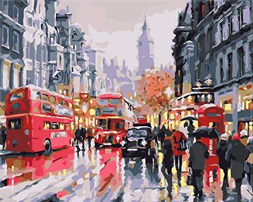 Verf door cijfers voor volwassenen en kinderen DIY olieverfgeschenken Kits Pre-Printed Canvas Art Home Decoratie - City Red Bus Pictures 50x65cm