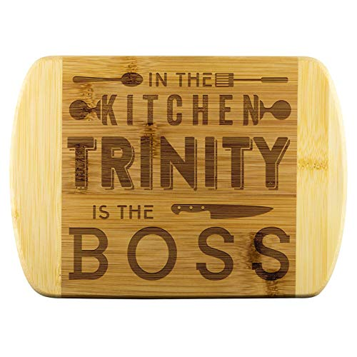 Unique Mothers Day Gifts - In The Kitchen Trinity Is The Boss - Funnyd Name Love Kitchen, Funny Kitchen Cutting Board, Bamboo Engraved Cutting Board, Best Gifts For Mom