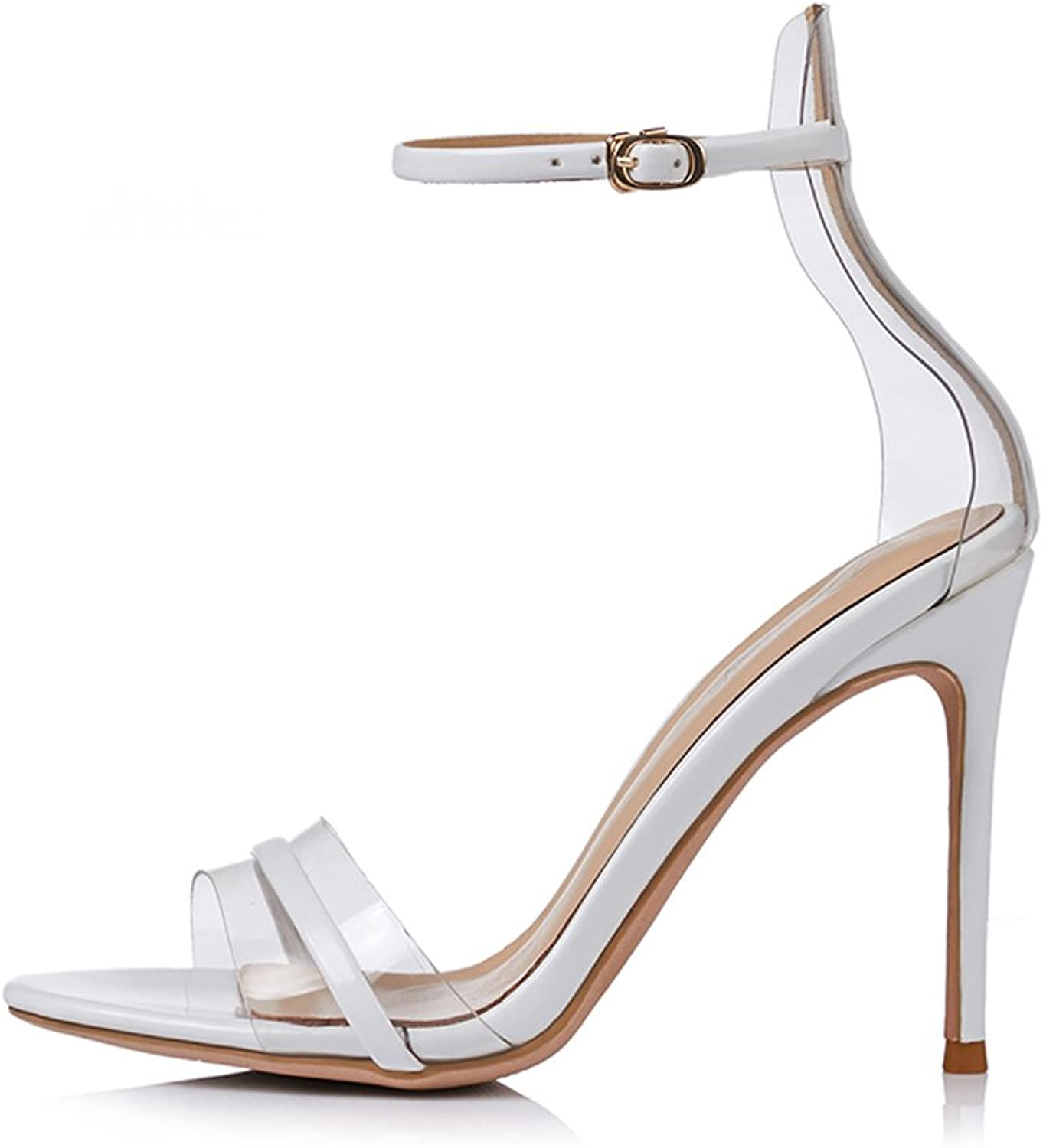 JE shoes Women's Sandals Fine with High-Heeled Words with Transparent Wild 8cm