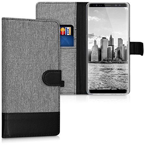 kwmobile Samsung Galaxy Note 8 DUOS Hülle - Kunstleder Wallet Case für Samsung Galaxy Note 8 DUOS mit Kartenfächern & Stand - Grau Schwarz