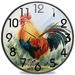 Naanle Beautiful Farm Bird Rooster Print Round Wall Clock, 12 Inch Silent Battery Operated Quartz Analog Quiet Desk Clock for Home,Office,School,Kitchen