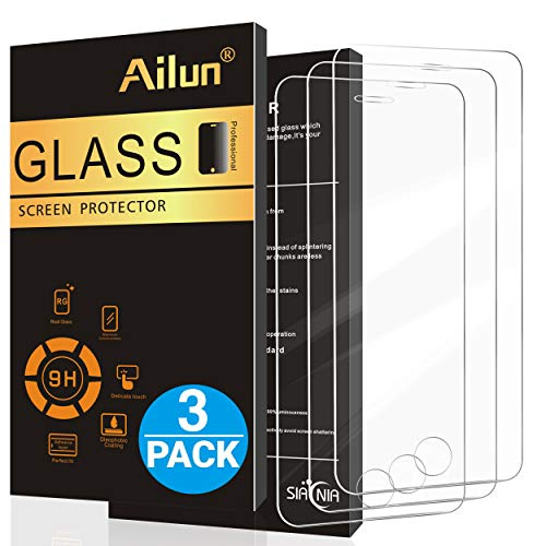 Ailun Screen Protector Compatible with iPhone 5S iPhone SE (2016) iPhone 5 iPhone 5c 3Pack 2.5D Edge Tempered Glass Anti-Scratch Case Friendly Siania Retail Package