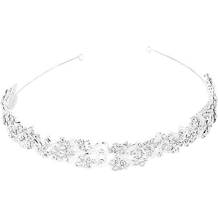 VORCOOL Matrimonio da sposa capelli Barrettes Hairband - fiore foglia stile (argento)