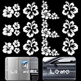 """OIIKI 12Pcs Hibiscus Flowers Car Decals for Women, 3.5"""" White Waterproof Vinyl Automotive Exterior Decoration Stickers for Auto Body Hood Lights SUV Truck Motorcycle Doors Walls Laptop (3 Sets)"""
