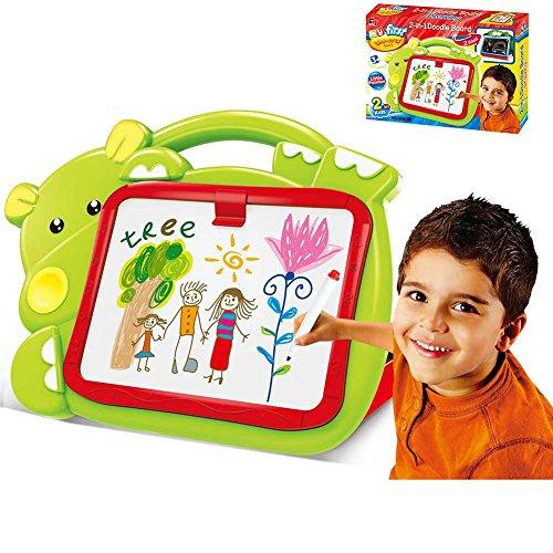 BAKAJI 8050534663297 - Pizarra magnética para niños, diseño de hipopótamo, 2 en 1, Zona de Dibujo con tizas y rotuladores, Color Verde, Multicolor