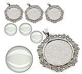 Perlin – Juego de 4 medallones de metal con filigrana con colgante y cabujón redondo de cristal transparente de 30 mm de diámetro, marco superestético, juego de manualidades