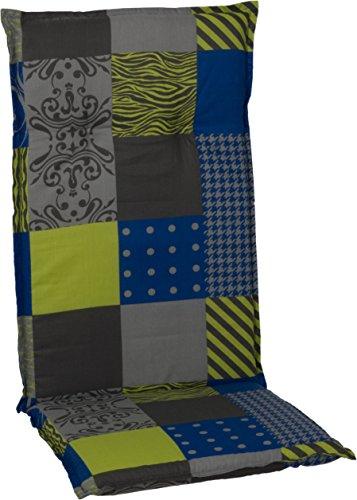 Beo patchwork tuinstoelkussens met hoge rugleuning, circa 118 x 48 x 6 cm, blauw/groen/grijs/meerkleurig