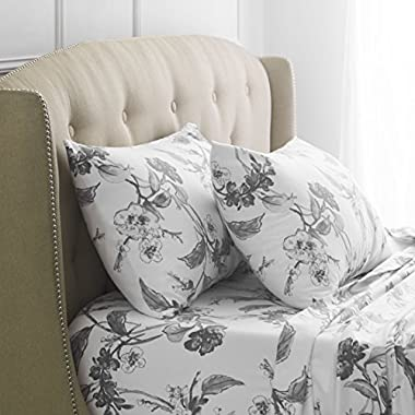 Pinzon Signature 190-Gram Cotton Heavyweight Velvet Flannel Sheet Set - Queen, Floral Graphite