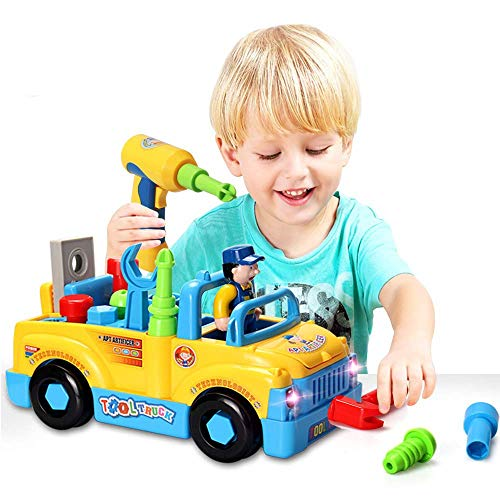 Kikioo Mini Take Apart Toy Truck Car, Build Your Own Car, Friction Car Plastic Toy Educational Construction Toys Kit With Tools Drill Real Lights And Sounds, Best Gifts For Kids 3 Years old And Up