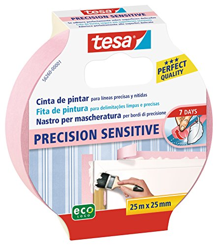 Tesa TE56260-00001-02 Cinta de pintor PRECISION Sensitive 25mx25mm rosa, Standard
